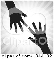 Clipart Of Black Arms And Hands Reaching For Each Other Over Gray Rays Royalty Free Vector Illustration