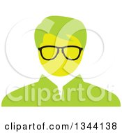Clipart Of A Green Bespectacled Businessman Avatar Royalty Free Vector Illustration by ColorMagic