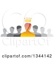 Clipart Of A Gradient Orange Crowned Business Man Boss And Gray Team Royalty Free Vector Illustration