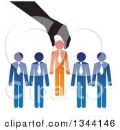 Clipart Of A Hand Inserting A New Boss Businessman In To A Team Royalty Free Vector Illustration by ColorMagic