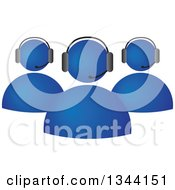 Clipart Of A Team Of Blue Business People Wearing Head Sets Royalty Free Vector Illustration by ColorMagic