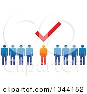 Clipart Of A Check Mark Over A Unique Orange Man In A Line Of Blue People Royalty Free Vector Illustration