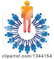 Clipart Of A Shiny Orange Boss Businessman In A Circle Of Blue Employees Royalty Free Vector Illustration by ColorMagic