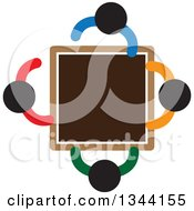Clipart Of A Group Of Colorful People Meeting Around A Table Royalty Free Vector Illustration