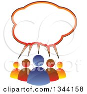 Colorful Team Of People Under A Speech Balloon