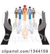 Clipart Of Hands Protecting A Blue And Orange Team Of Business Men And Reflection Royalty Free Vector Illustration