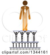 Clipart Of A Gradient Orange Businessman Being Held Up By A Team Royalty Free Vector Illustration by ColorMagic