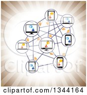 Clipart Of A Network Of Talking People And Gadgets Over Sepia Rays Royalty Free Vector Illustration by ColorMagic