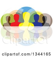 Clipart Of A Colorful Team Of Silhouetted Men From The Shoulders Up Over Circles And A Reflection Royalty Free Vector Illustration by ColorMagic