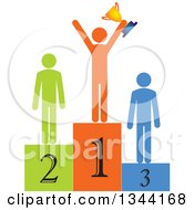 Clipart Of A Successful Man Holding A Trophy And Cheering On A Podium With Runners Up Royalty Free Vector Illustration by ColorMagic