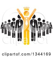 Clipart Of A Crowned Orange Cheering Businessman Leading A Team Royalty Free Vector Illustration by ColorMagic