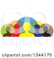 Clipart Of A Colorful Team Of Silhouetted Men From The Shoulders Up Over Circles Royalty Free Vector Illustration