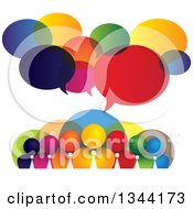Clipart Of A Team Of Colorful Business Men Over Bubbles With Speech Balloons Royalty Free Vector Illustration