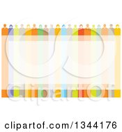 Clipart Of A Team Of Business Men And Women Over A Colorful Frame Royalty Free Vector Illustration