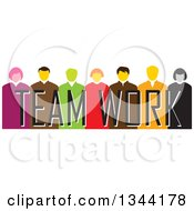 Clipart Of A Group Of Business Men And Women Over Team Work Text Royalty Free Vector Illustration
