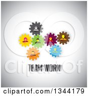 Clipart Of Business Men And Women In Colorful Gears Over Teamwork Text On Shading Royalty Free Vector Illustration by ColorMagic