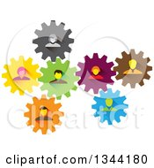 Clipart Of A Team Of Business Men And Women In Colorful Gears Royalty Free Vector Illustration