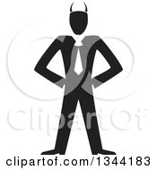Clipart Of A Black And White Horned Devil Businessman Royalty Free Vector Illustration