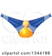 Clipart Of A 3d Orange Man And Lines Of Blue Followers 2 Royalty Free Vector Illustration by ColorMagic