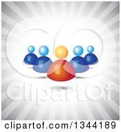 Clipart Of A 3d Orange Manager And Blue Team Over Gray Rays Royalty Free Vector Illustration