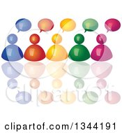 3d Colorful Team Of People With Speech Balloons And Reflections