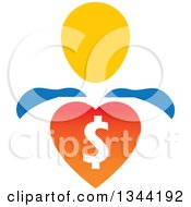 Clipart Of A Super Hero Man With A Dollar Currency Heart Royalty Free Vector Illustration