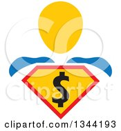 Clipart Of A Super Hero Man With A Dollar Currency Shield Royalty Free Vector Illustration