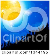 Clipart Of A Silhouetted Crowd Dancing Under A Gold Disco Ball On Blue With Flares Royalty Free Vector Illustration