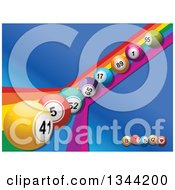 Clipart Of A Row Of 3d Colorful Bingo Balls Rolling Down A Rainbow Over Blue With Letter Balls Royalty Free Vector Illustration