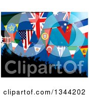 Clipart Of A 3d Silhouetted Dancing Crowd Under Flag Buntings On Blue Royalty Free Vector Illustration