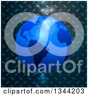 Clipart Of A 3d Blue Earth Globe Over Diamond Plate Metal With Flares Royalty Free Vector Illustration