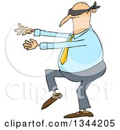 Clipart Of A Cartoon Chubby White Business Man Walking Blindfolded With His Arms Out Royalty Free Vector Illustration