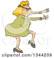 Clipart Of A Cartoon Chubby Blindfolded White Woman Walking And Holding Her Arms Out Royalty Free Vector Illustration