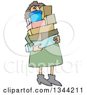 Clipart Of A Cartoon Chubby White Woman Carrying A Lot Of Boxes Royalty Free Vector Illustration