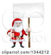 Cartoon Happy Christmas Santa Claus Holding A Blank Sign And Giving A Thumb Up