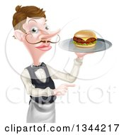 Clipart Of A Cartoon Caucasian Male Waiter With A Curling Mustache Holding A Cheeseburger On A Platter And Pointing To The Right Royalty Free Vector Illustration