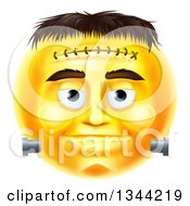 Clipart Of A 3d Yellow Frankenstein Smiley Emoji Emoticon Face Royalty Free Vector Illustration by AtStockIllustration