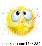 Clipart Of A 3d Yellow Smiley Emoji Emoticon Face Sick With A Fever And Thermometer Royalty Free Vector Illustration