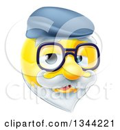 Clipart Of A 3d Senior Grandpa Yellow Smiley Emoji Emoticon Face Wearing Glasses And A Hat Royalty Free Vector Illustration by AtStockIllustration