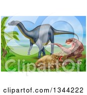 Diplodocus Dinosaur By A T Rex And Triceratops In A Fight