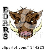 Clipart Of A Cartoon Aggressive Brown Boar Mascot Head With Text Royalty Free Vector Illustration