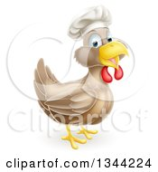 Clipart Of A Happy Brown Chicken Chef Facing Right Royalty Free Vector Illustration