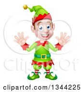 Clipart Of A Cartoon Welcoming Young Brunette White Male Christmas Elf Waving With Both Hands Royalty Free Vector Illustration