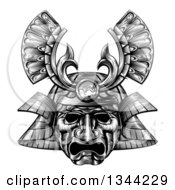 Clipart Of A Black And White Woodblock Styled Samurai Mask Royalty Free Vector Illustration by AtStockIllustration