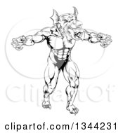 Clipart Of A Black And White Muscular Aggressive Welsh Dragon Man Mascot Walking Upright Royalty Free Vector Illustration by AtStockIllustration