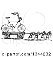 Clipart Of Black And White Woodcut People Pulling A Hipster Bicycle Royalty Free Vector Illustration