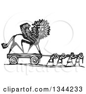 Clipart Of Black And White Woodcut People Pulling A Chimera Statue Royalty Free Vector Illustration