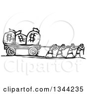 Clipart Of Black And White Woodcut People Pulling Money Bags With Dollar Currency Symbols Royalty Free Vector Illustration