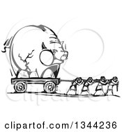 Clipart Of Black And White Woodcut People Pulling A Cracked Piggy Bank Royalty Free Vector Illustration by xunantunich