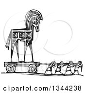 Black And White Woodcut Of People Pulling The Trojan Horse